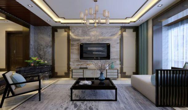 绿地国际花都240平米五居室新中式风格设计方案效果图参考