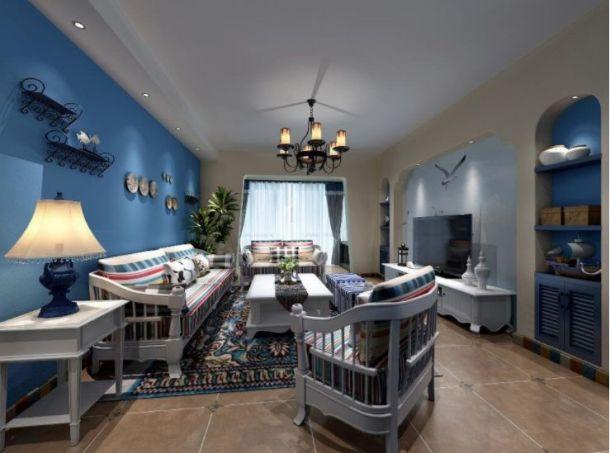 桃源漫步145平米三居室地中海风格设计方案效果图参考