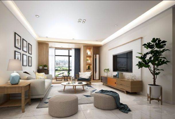 瑞麟君府120平米三居室现代简约风格设计方案效果图参考