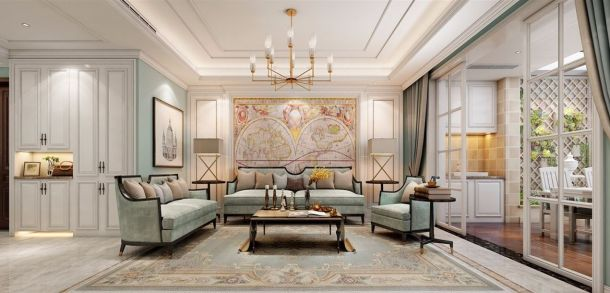 龙湖原著157平米三居室简欧风格设计方案效果图参考