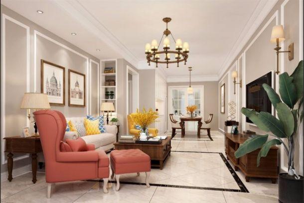 华润二十四城126平米美式三居室装修风格设计方案效果图参考