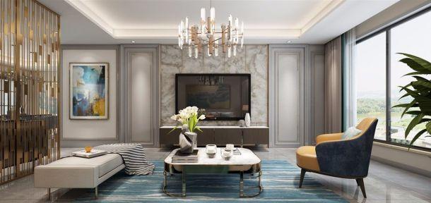 保利拉菲136平米三居室简欧风格设计方案效果图参考