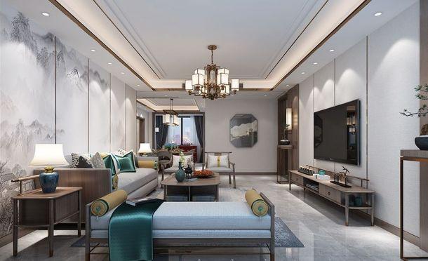 龙湖花千树200平米五居室新中式风格装修设计效果图参考