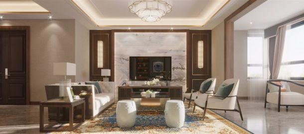 建大家属院200平米四居室新中式风格设计方案效果图参考