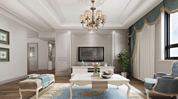 兴庆宫140平米三居室简欧风格设计方案效果图参考