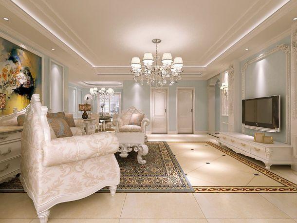 中华世纪城140平米三居室欧式风格设计方案效果图参考