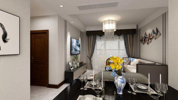 国润城107平现代轻奢三居室设计方案效果图参考