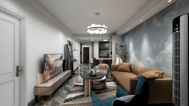 大唐府邸101平米三室轻奢风装修效果图参考