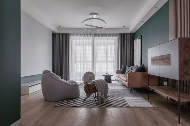 白桦林明天三居室极简北欧风格装修,低调灰和祖母绿的搭配很气质呀