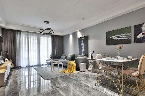 伟业公馆98三居室轻奢风格设计方案效果图